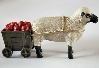New Country Sheep & Apple Cart Figurine Collectible USA SELLER * Shipped fast!