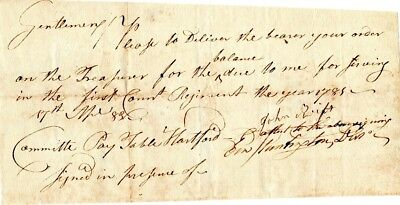 1783, Lt. Colonel Ebenezer Huntington, signed discharge, pay order signed