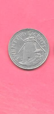 Barbados Km13 1980 Vf-Very Fine-Nice Large Old Vintage 25 Cents Lighthouse Coin
