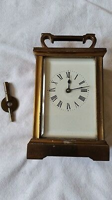 Antique Mantel/carriage Clock With Key-In Working Order