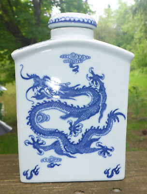 Chinese Blue & White Porcelain Tea Caddy With Multiple DRAGON images MINT cond!