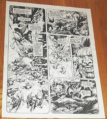 B&W Stat proof art 14.5 X 19 Joe Kubert Tor #2 Page 35 Marvel Epic Comics