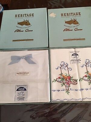 Lot 2 New Vintage Heritage Pillow Case Set Hand Embroidered Flowers & White Box