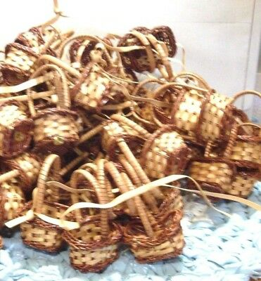 24 Mini Wicker Woven Baskets Party Favors Crafts New Wholesale