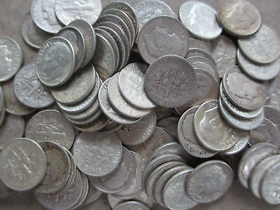 100 Roosevelt Silver Dimes Circulated $10.00 FV