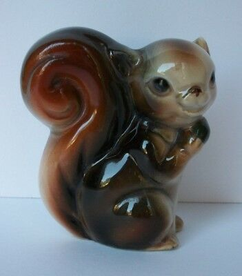 "Vintage Glazed Porcelain Squirrel Figure 2-7/8"" Tall Nice Quality JAPAN"