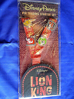 Disney * LION KING * 4 pin Starter Set + Lanyard & Card - SIMBA SCAR TIMON PUMBA