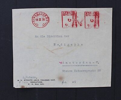 D7483 STRAITS SETTLEMENTS 1936 meter cover with 2 times 6 cents Neopost meter