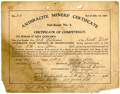 1910 Anthracite Coal Miner Certificate of Competency Carbondale Pennsylvania #6
