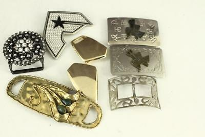 Vintage Costume Jewelry Clothing LOT Belt Buckles Rhinestone & Metal India Brass