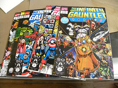 Marvel 1991 5 of 6 ishs THE INFINITY GAUNTLET 1 2 3 4 6 ka THANOS