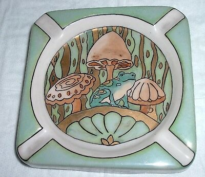 Hand painted Artist Signed EMH Art Nouveau Mushroom Frog Metallic paints