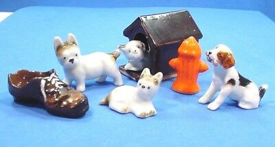 7 Pc Lot Vintage Miniatures Dogs House Hydrant Bone Shoe Mostly JAPAN