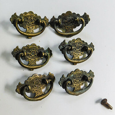 6 Small Vintage Ornate Victorian Brass Drawer Cabinet Pulls Bail Handles 2 1/2""