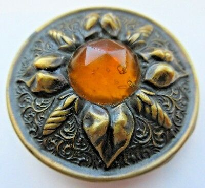 Spectacular X LARGE Antique GAY 90's Metal BUTTON w/ Amber GLASS Center (E3)