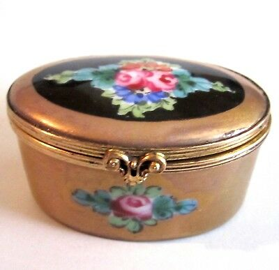 Vintage France Hand Painted Porcelain Trinket Box Gold W/ Flowers