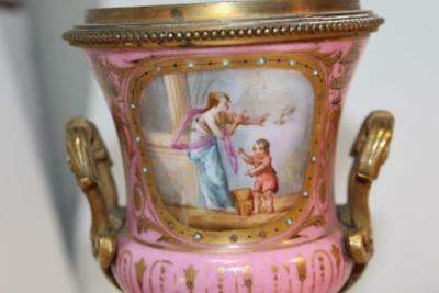 Antique French Sevres Porcelain Ormalu Boudoir Brass Hand Painted Pink Urn