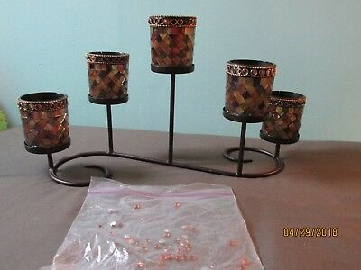 Partylite Global Fusion Mosaic Glass 5 ~ Votive Candle Holder Centerpiece