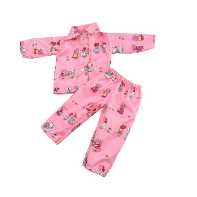 Pajamas Clothes Pink Flower Girls for 18'' American Girl Our Generation Doll