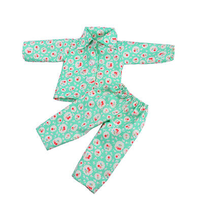 Pajamas PJS Clothes Green Cheery for 18'' American Girl Our Generation Doll