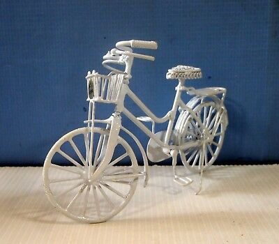 Vintage hand crafted miniature metal wire bicycle new from old stock