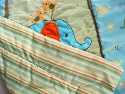 At the Zoo BEST FRIENDS Baby Bed CRIB SET Bedding QUILT & SKIRT Elephant Stripes