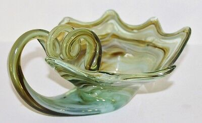 Vintage Hand Blown Art Glass Green Swirl Centerpiece Display Bowl Vguc