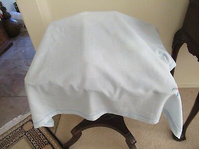 Throwover Food cover/cloth Semi-sheer fabric Pale blue with embroidered corners