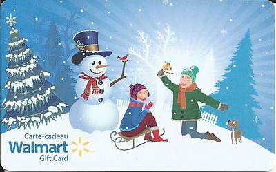 New 2016 Snowman & Christmas Mint Gift Card From Walmart Canada Bilingual