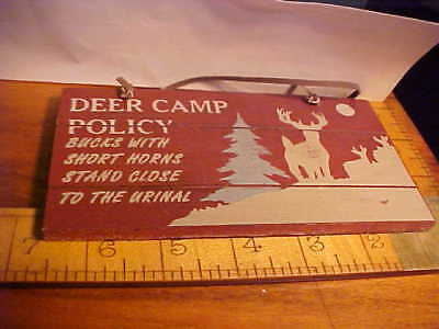 Deer Wall Plaque Hunting Camp Lodge Country Sign BATHROOM BUCKS WITH SHORT HORNS
