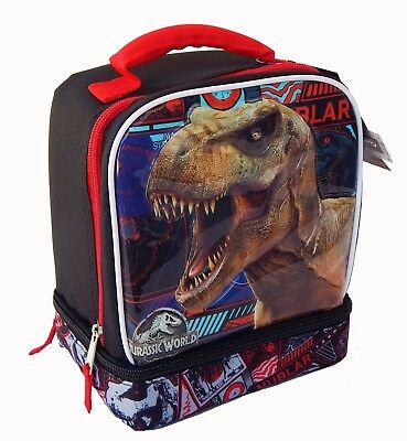 JURASSIC WORLD KINGDOM Dual-Chamber Lead-Safe Insulated Lunch Tote Box Bag  $24