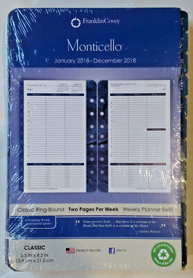 Unused Jan - Dec 2018 Franklin Covey Weekly Planner Refill Monticello Classic