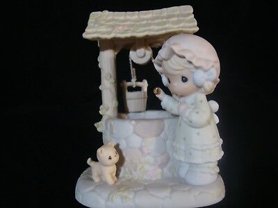 Precious Moments-Musical-Girl Drops Coin In Wishing Well-Wishing You Were Here