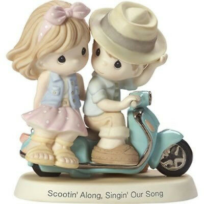 Precious Moments-Couple On Motorcycle/Scooter-Scootin' Along, Singin' Our Song
