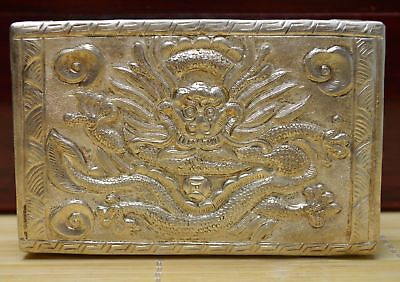4.1 Oz Purity 999 Pure Silver Solid Hand Made Relievo Dragon Flower Card Case