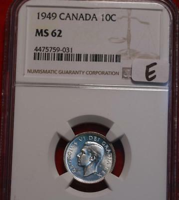 1949 Canada 10 Cents Silver Coin NGC Graded MS 62