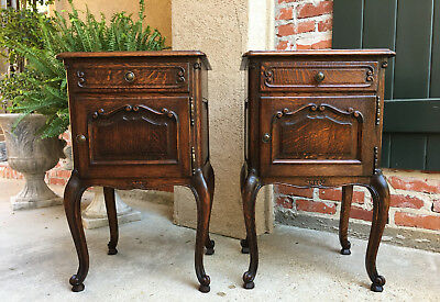 PAIR 2 Antique French Carved Dark Tiger Oak Nightstand End Table Louis XV Set