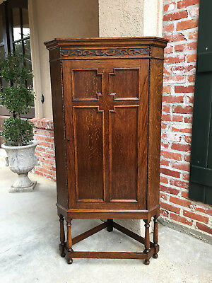 Antique English Carved Tiger Oak CORNER CABINET Jacobean Bookcase Tudor Storage