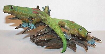 2005 Country Artists Gecko Pair  on Leaves Sculpture
