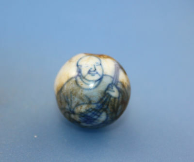 18*18 mm Antique Dzi Hand painted porcelain old Bead from Tibet Free shipping