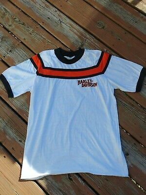 Rare Ringer Tee - Harley Davidson Shirt 70s Orange and Black