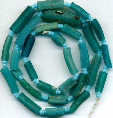 """Roman Ancient Glass Beads Aqua Tubes ~Centuries Old~Authentic Encrusted 17"""""""