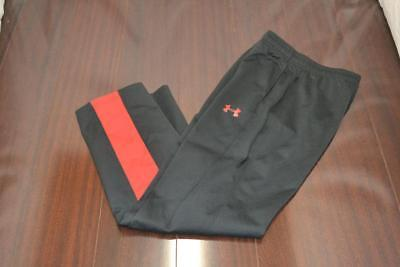 17427 Boys Under Armour Athletic Black Work Out Track Sweat Pants Size Large