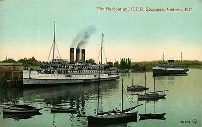 Postcard C.P.R. Steamships in Harbour, Victoria, British Columbia, Canada