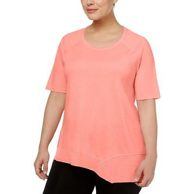 Calvin Klein Performance Womens Pink Asymmetrical-Hem T-Shirt Plus 1X BHFO 5336