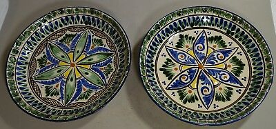 """SH5p1 PAIR OF UZBEK ART POTTERY MIDDLE EASTERN STYLE HAND PAINTED PLATES 7 3/4"""""""