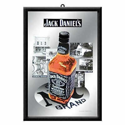 Jack Daniels Bottle 1866 Mirror 20x30cm Licensed Nostalgic Art Black No7 Barware