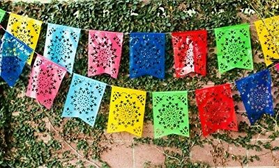 "Mexican PLASTIC Fishtail Papel Picado Banner ""Flor de Sol"" - Design Colors"