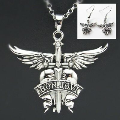 NEW America BON JOVI Rock Band NECKLACE Keychain EARRINGS Pendant Charms Cosplay