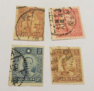 China 1942 - 45 imperf small collection used
